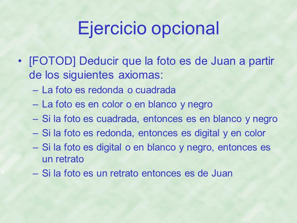 Ejercicio opcional [FOTOD] Deducir que la foto es de Juan a partir de los siguientes axiomas: La foto es redonda o cuadrada.